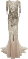 Marchesa Degrad Beaded Trumpet Gown
