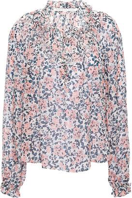 Veronica Beard Lace-up Gathered Floral-print Silk-seersucker Blouse