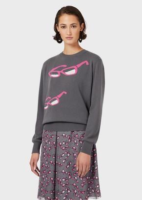 Emporio Armani Pure Cashmere Sweater With Intarsia-Knit Eyeglasses