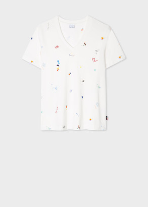 Paul Smith Women's White 'Scribble' V-Neck Organic-Cotton T-Shirt