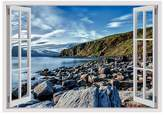 Alonline Art - A Lake On The Coast Fake 3D Window PRINT On CANVAS (100% Cotton, UNFRAMED Unmounted) Canvas For Bedroom Wall Art Pictures Oil Paints Oil Paintings Prints Wall Decor
