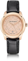 Trussardi T01 Lady Rose Gold Stainless Steel and Black Leather Women's Watch