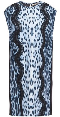 Roberto Cavalli Leopard-print Silk Crepe De Chine And Jersey Mini Dress