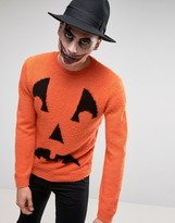 Asos Halloween Jumper With Pumpkin Face In Fluffy Yarn
