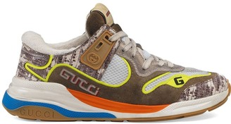 Gucci Low Top Faux Snakeskin Sneakers