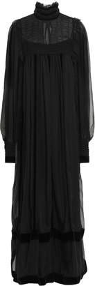 Alberta Ferretti Velvet-trimmed Shirred Silk-chiffon Maxi Dress