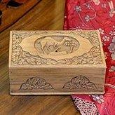Novica Animal Themed Wood Jewelry Box, 'Camel'