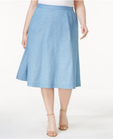 NY Collection Plus Size Cotton Chambray Skirt