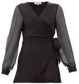 Diane von Furstenberg Klee Silk-sleeve Satin Wrap Blouse - Womens - Black