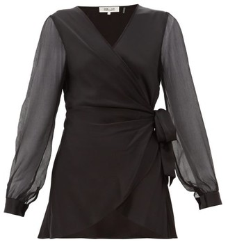 Diane von Furstenberg Klee Silk-sleeve Satin Wrap Blouse - Womens - Black