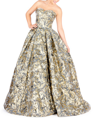 Mac Duggal Strapless Floral Brocade Ball Gown