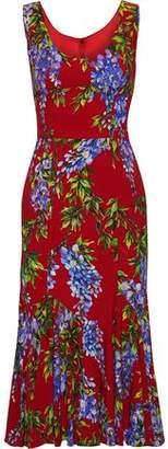 Dolce & Gabbana Fluted Floral-print Crepe Midi Dress