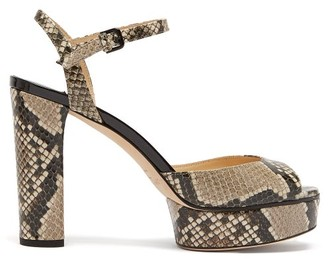 Jimmy Choo Peachy 105 Python-effect Leather Platform Sandals - Womens - Python