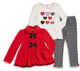 Kids Headquarters Girls 2-6x Fleece Jacket, Heart Graphic Tee and Leggings Set