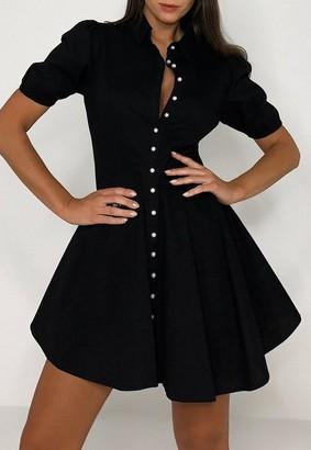 Missguided Black Mock Pearl Puff Sleeve Skater Shirt Dress