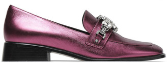 Marc Jacobs Crystal-embellished Metallic Leather Loafers
