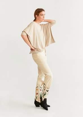 MANGO Dolman sleeve t-shirt sand - XXS - Women