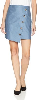 J.o.a. Women's Asymmetrical WRAP Button Front Mini Skirt