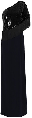 Sachin + Babi Kezia One-shoulder Fringed Sequined Stretch-crepe Gown