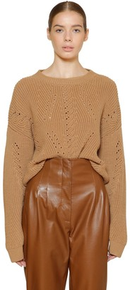 Alberta Ferretti Cropped Wool Rib Knit Sweater
