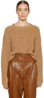 Alberta Ferretti Cropped Wool Rib Knit Sweater