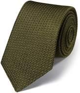 Charles Tyrwhitt Khaki Silk Plain Grenadine Italian Luxury Tie Size OSFA