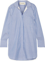 By Malene Birger Anafrina Silk-trimmed Striped Cotton-poplin Shirt - Blue