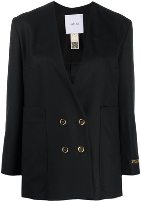 Collarless Double-Breasted Blazer