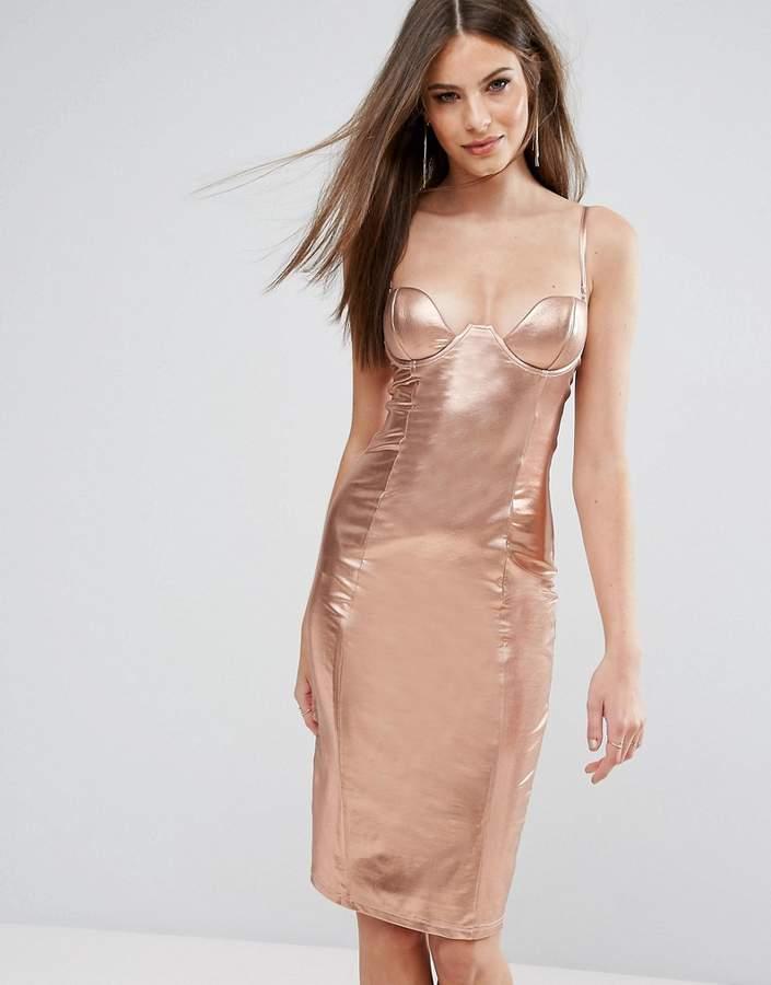 Rare London High Neck Plunge Midi Dress In High Shine