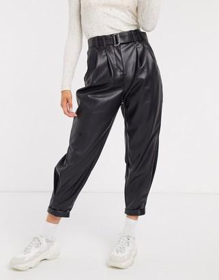 Bershka faux leather slouchy pants in black