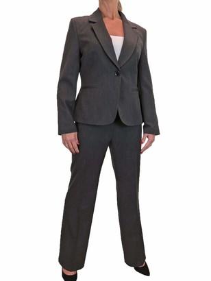icecoolfashion Women's Smart Trouser Suit Business Office Suit Formal Jacket Wide Leg Lightweight Dark Grey 14-22 (20)