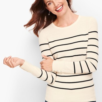 Talbots Cashmere Button Cuff Sweater - Stripe