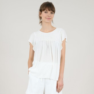 Molly Bracken Flared Blouse with Gathered Front and Ruffled Sleeves