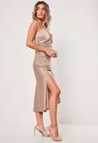 Missguided Nude Satin Cut Out Cami Slip Midi Dress