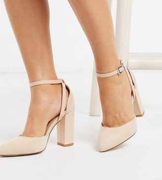 Truffle Collection wide fit pointed block heeled shoes in beige