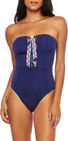 Trina Turk Paradise Plume Bandeau Lace-Up One-Piece Swimsuit