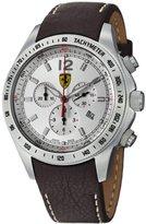 Ferrari Scuderia Chrono Swiss Made Men's Brown Leather Strap Watch FE-07-ACC-CP-SL