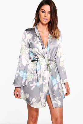 boohoo Satin Floral Print dressing gown