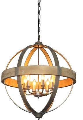 Creative Co-op Round Metal & Wood Pendant Light (Holds 6 Bulbs)