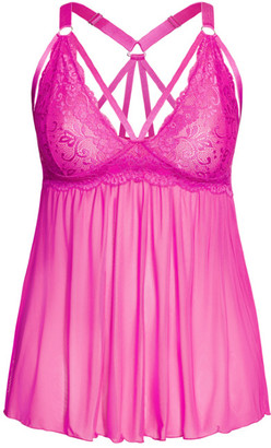 City Chic Sophie Strappy Babydoll - Hot Pink