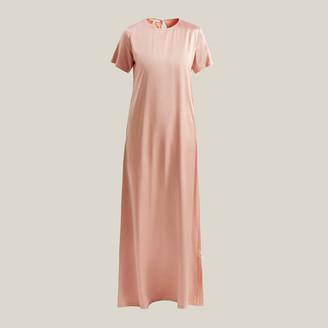 LA COLLECTION Pink Celine Short Sleeve Silk Maxi Dress Size L