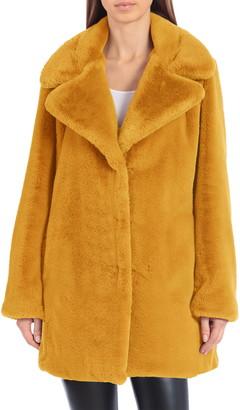 AVEC LES FILLES Faux Fur Notched Collar Coat