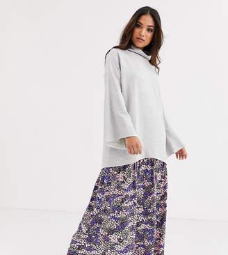 Asos DESIGN Petite sweat dress with floral print hem-Gray