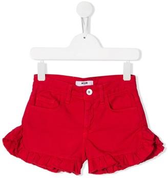 Msgm Kids Ruffle-Trimmed Denim Shorts