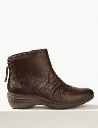 M&S CollectionMarks and Spencer Wide Fit Leather Wedge Heel Ankle Boots