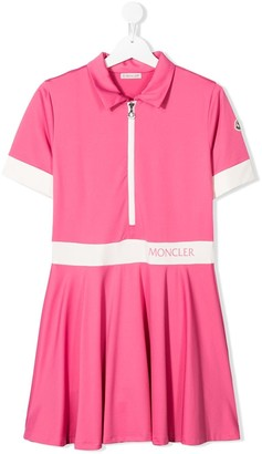 Moncler Enfant Short Sleeve Logo Trim Polo Dress