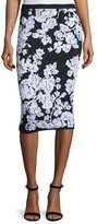 Milly Floral Fitted Midi Skirt