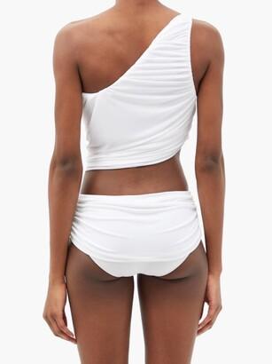 Norma Kamali Diana One-shoulder Ruched Bikini Top - White