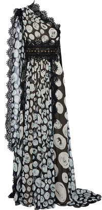 Naeem Khan One-shoulder Cape-effect Printed Silk-chiffon Gown