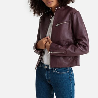 La Redoute Collections Leather Cropped Bomber Jacket with Pockets